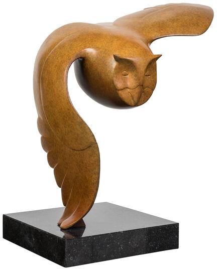 """Evert den Hartog: Skulptur """"Fliegende Eule Nr. 3"""", Bronze braun"""