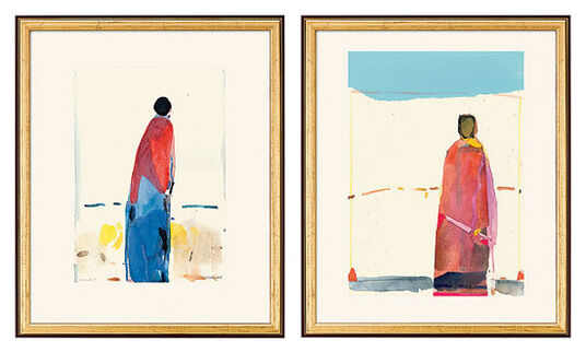 """Oskar Koller: 2 Bilder """"Stehende Gestalt"""" und """"Gestalt unter blauem Himmel"""" (2002) im Set"""