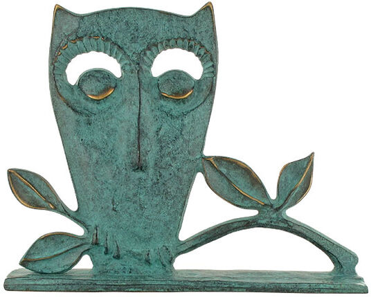 "Raimund Schmelter: Animal Sculpture ""Owl"", Bronze"