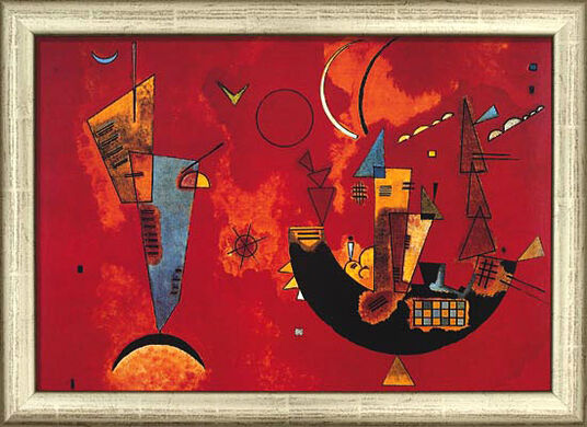 "Wassily Kandinsky: Painting ""With and Against"" (1929) in silver frame"