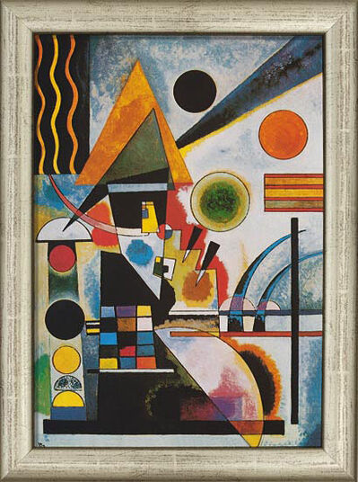 "Wassily Kandinsky: Painting ""Swinging"" (1925) in silvery frame"
