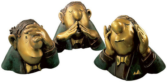 "Loriot: Sculptures ""The Three Character Heads"", version in bronze"