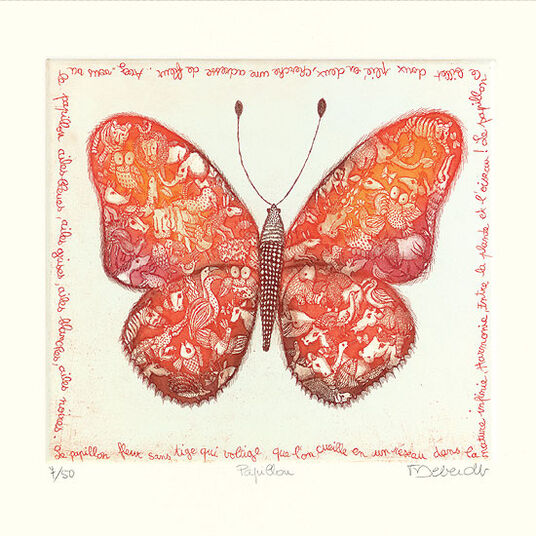 """Françoise Deberdt: Bild """"Papillon"""" (2005), ungerahmt"""