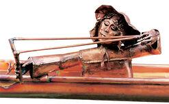 """Skulptur """"Dachrinnenmännchen mit Steinschleuder"""", Kupfer"""