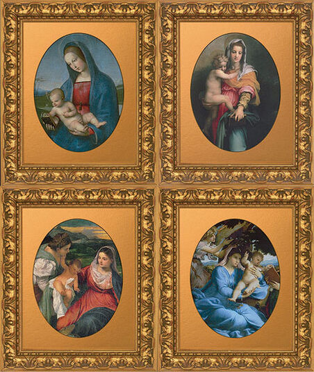 Four Madonna portraits of the Renaissance in set