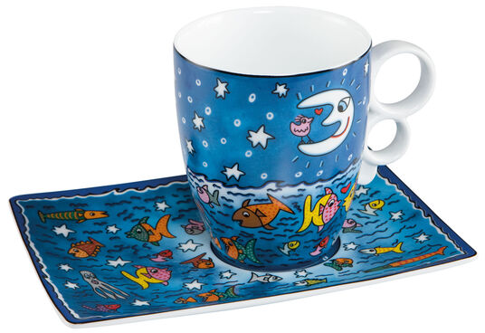 "James Rizzi: Kaffeetasse ""Moon, Stars, Fish and Sea"", Porzellan"