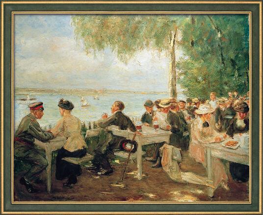 """Max Liebermann: Picture """"Beer Garden in Havel - Nikolskoe"""" (1916) in a frame"""