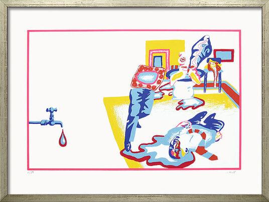"""Uwe Lausen: Bild """"Tod eines Handlungsreisenden"""" (1968), gerahmt"""