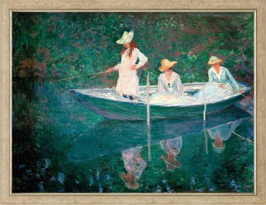 "Claude Monet: Bild ""Die Barke in Giverny (En norvégienne)"" (um 1887), gerahmt"