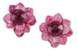 Clip earrings 'Water Lilies, Pink'