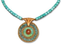 "Turquoise necklace ""Lotus blossom"""