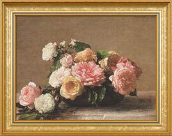 "Bild ""Roses dans une coupe - Rosen in der Schale"" (1882), gerahmt"