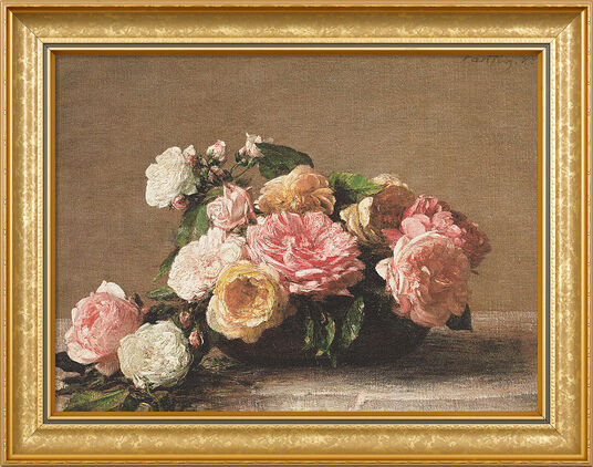 "Henri Fantin-Latour: Painting ""Roses dans une coupe - Roses in a Cup"" (1882) in a frame"