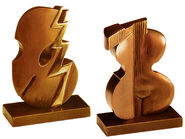 Pair of sculptures 'Melody & Rhythm', bronze