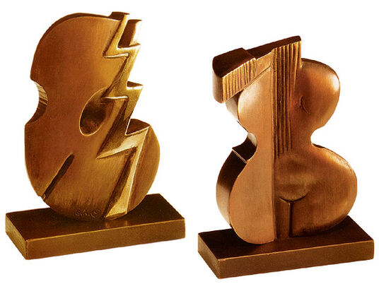 Karl Dennig: Pair of sculptures 'Melody & Rhythm', bronze