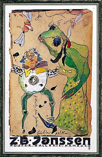 """Horst Janssen: Bild """"Fröschle Polka"""", 1992, gerahmt"""