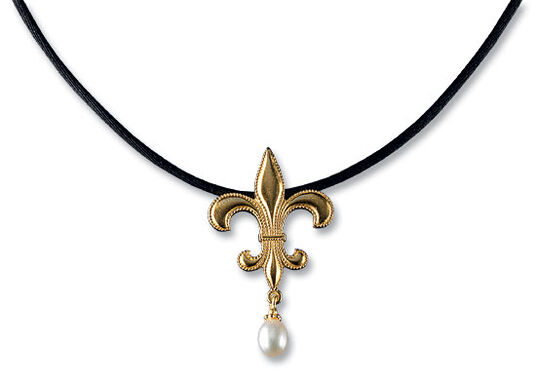 "Necklace ""French Lily with Pearl"" gilded, 925 Sterling silver"