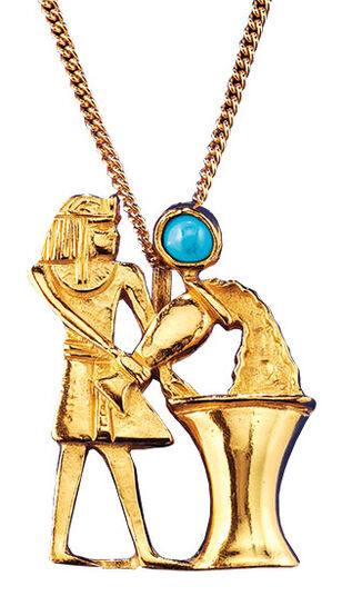"Ancient Egyptian zodiac sign ""Aquarius"" (21.1.-19.2.) Necklace with a lucky stone."