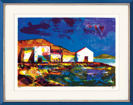 """Miguel Ibarz: Bild """"Lass mich das blaue Lachen des Himmels und des Meeres malen"""" (1978), gerahmt"""