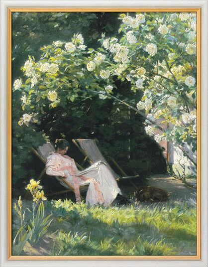 """Peder Severin Kroyer: Bild """"Unter dem Rosenbusch (Havepartie med Marie Kroyer)"""", gerahmt"""