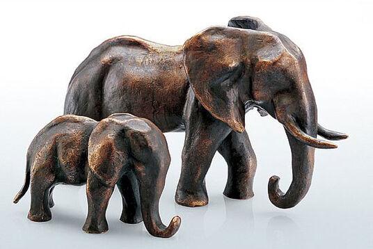 """Mechtild Born: """"Elefanten-Mutter und -Kind"""", Bronze"""