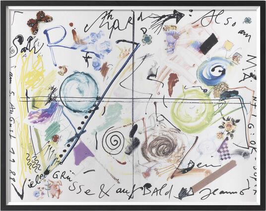 "Jean Tinguely: Bild ""Salü Richard"" (1988), gerahmt"