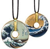 "Porcelain Pendant ""Hokusai"" with Textile Lace"