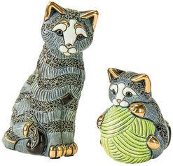 "2 Keramikfiguren ""Katzenmutter mit Jungem"" im Set"