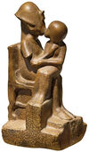 "Replica ""King Akhenaten kisses his daughter,"", Artificial Casting"