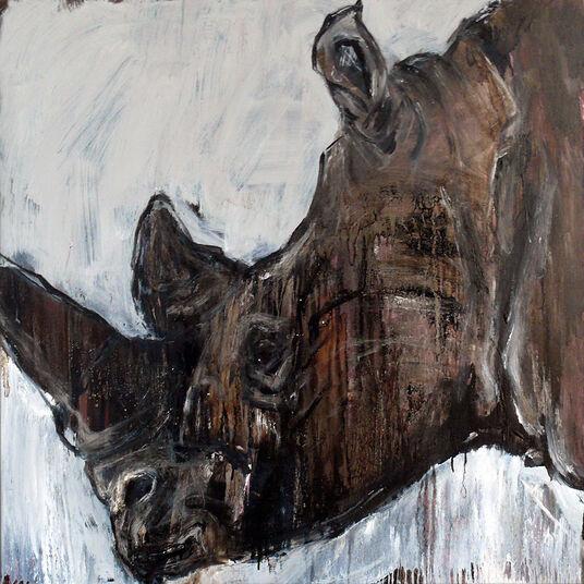"""Ralf Koenemann: Bild """"Nashorn 10"""" (2014) (Unikat)"""