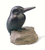 "Garden Sculpture ""Kingfisher"", copper on stone"