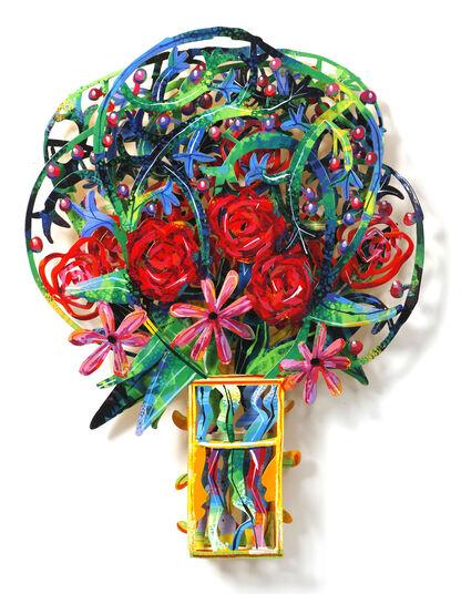 """David Gerstein: 3D-Wandskulptur """"Bouquet - London"""" (2009), Aluminium"""