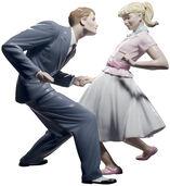 "Porzellanfigur ""Let's Swing"", handbemalt"