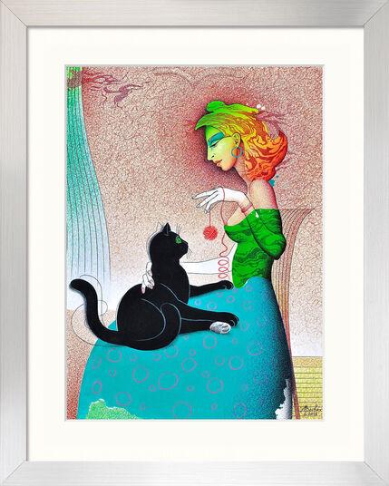 """Michael Becker: Bild """"Schwarze Katze"""" (2012) (Original / Unikat), gerahmt"""
