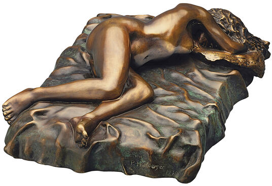 "Peter Hohberger: Sculpture ""Lying Nude On Pillow"", bronze version"