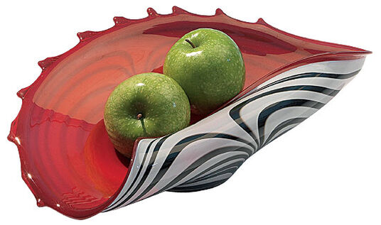 Glass bowl red-white (without décor)