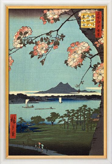 "Ando Hiroshige: Bild ""Suijin Grove and Masaki"" (1856-58), gerahmt"