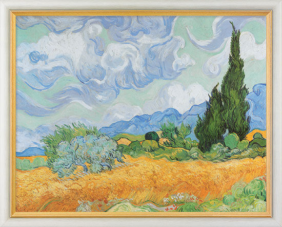 """Painting """"Wheat Field with Cypresses"""" (1889) in a frame"""