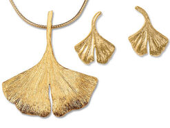 Ginkgo-Jewelry Set in 925 Sterling Silver, Gilded