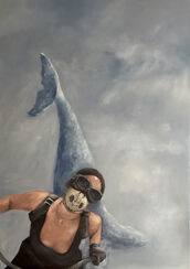 "Bild ""Biker with whale sculpture"" (2017) (Unikat)"