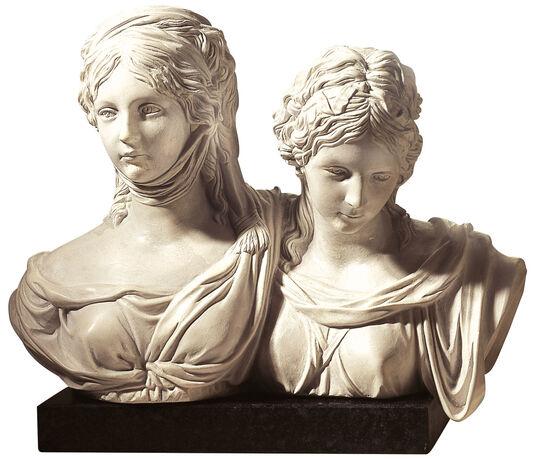 """Johann Gottfried Schadow: Bust """"Luise and Friederike"""", artificial marble"""