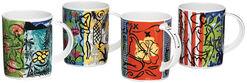 Vier Kaffeebecher mit Künstlermotiven im Set