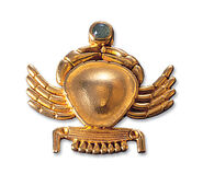 """Ancient Egyptian zodiac sign of """"Cancer"""" (22.6.-22.7.) pin brooch, with a lucky stone."""
