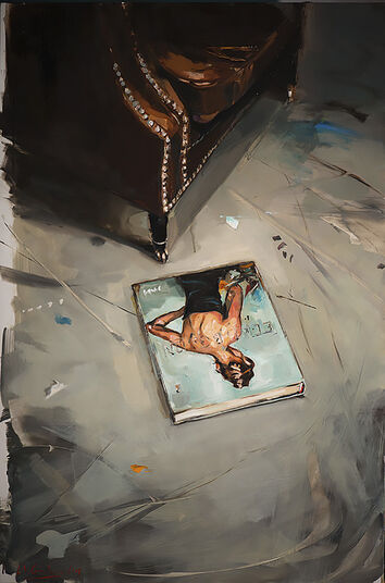 "Edward B. Gordon: Bild ""Sessel und Buch"" (2015) (Unikat)"