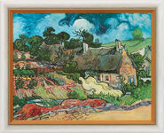 "Painting ""Thatched Cottages in Cordeville"" (1890) in gallery framing"
