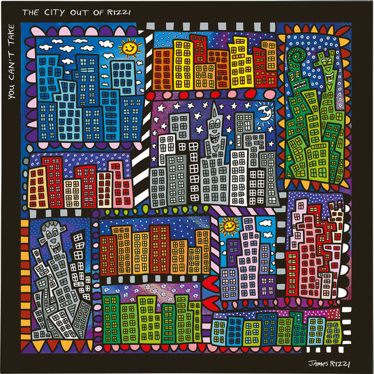 "James Rizzi: 5-teiliges Magnetboard ""You can not take the city"", Glas/Kunststoff"