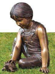 "Gartenskulptur ""Junge mit Schildkröte"", Bronze"