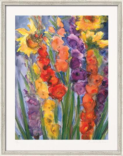 """Christine Kremkau: Bild """"Gladiolen und Sonnenblumen"""" (2012), gerahmt"""