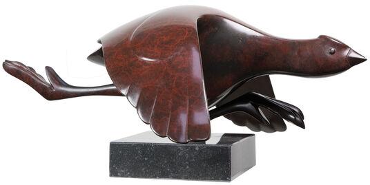 "Evert den Hartog: Skulptur ""Blässhuhn"", Bronze braun"