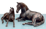 "Two horse sculptures ""Arab Mare with Foal"" in a set, bronze"